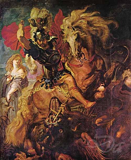 Baroque Paintings - St. George & Dragon - Rubens